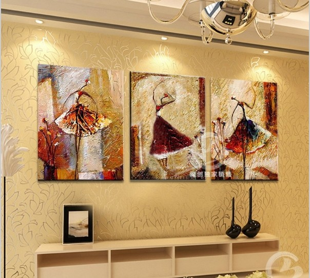 3 Piece Canvas Wall Art Sets HandPainted Pictures For Bedroom Modern Oil  Painting Abstract Ballet Dancer
