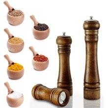 1 pçs moedor de carvalho moedor de sal e pimenta moedor de especiarias multi purpose condimento garrafa ferramentas de cozinha (5,8, 10 polegada) moedor de pimenta