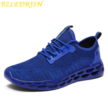 цены 2019 New Air Mesh Running Shoes For Men Sneakers Outdoor Breathable Comfortable Athletic blue Shoes mens Sports Shoes size 39-48