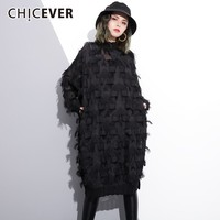 CHICEVER Autumn Lace Dresses Of The Big Sizes Stand Collar Batwing Long Sleeve Loose Oversize Dress Female Fashion Clothing Tide