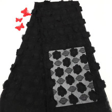 New Design Black Color 3D Flower Nigerian Net lace fabric High Quality African For Wedding Dress HX1095-1