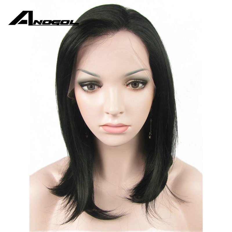 Anogol High Temperature Fiber 1# Black Natural Medium Shoulder Length Straight Bob Synthetic Lace Front Wig with Free Part