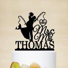 Персонализированный Топпер для свадебного торта, топпер для рыболовного торта с Mr & Mrs, Свадебный Топпер для свадебного торта для невесты и ж...