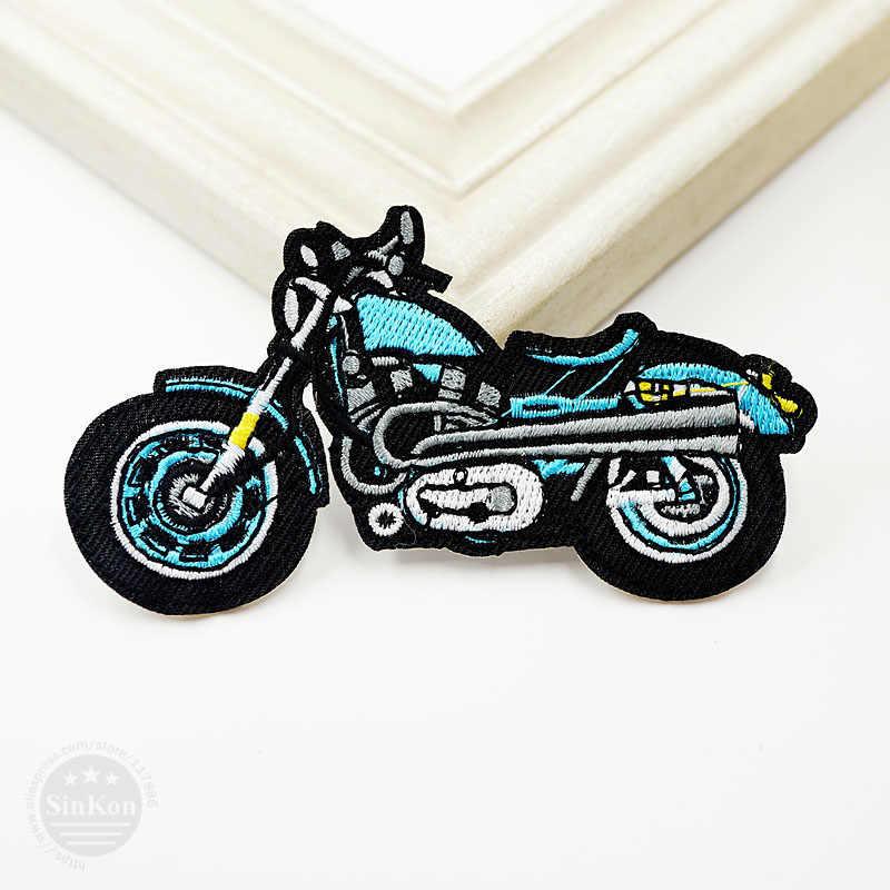 1 Cái Xe Máy Màu Xanh (Kích Thước: 10x5.5 cm) DIY Vải Phù Hiệu Hàn Gắn Trang Trí Patches Jeans Bag quần áo Trang Phục May Trang Trí Đính