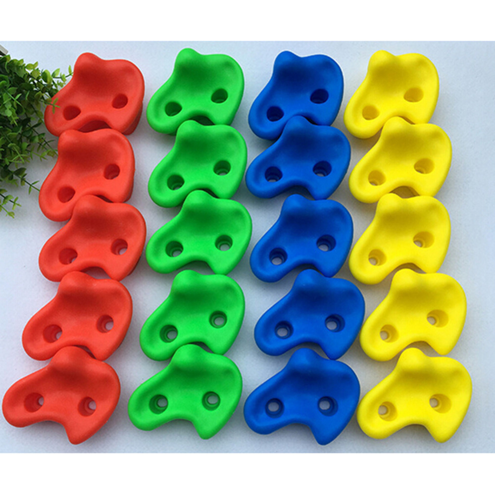 15 pcs 12cm Big Size Plastic Children Kids Rock Climbing Wood Wall Stones Hand Feet Holds Grip Kits Without Screw Random Color