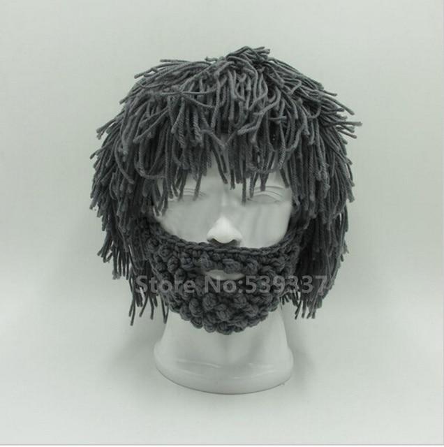 9ff05491e9b 2017 Handmade Knitted Men Winter Crochet Mustache Hat Beard Beanies Face  Tassel Bicycle Mask Ski Warm