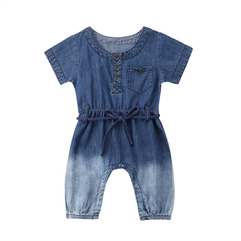 0-24M Summer Fashion Casual Toddler Baby Girls Boys Denim Romper Short Sleeve Sashes Blue Button Jumpsuits Romper Baby Clothes