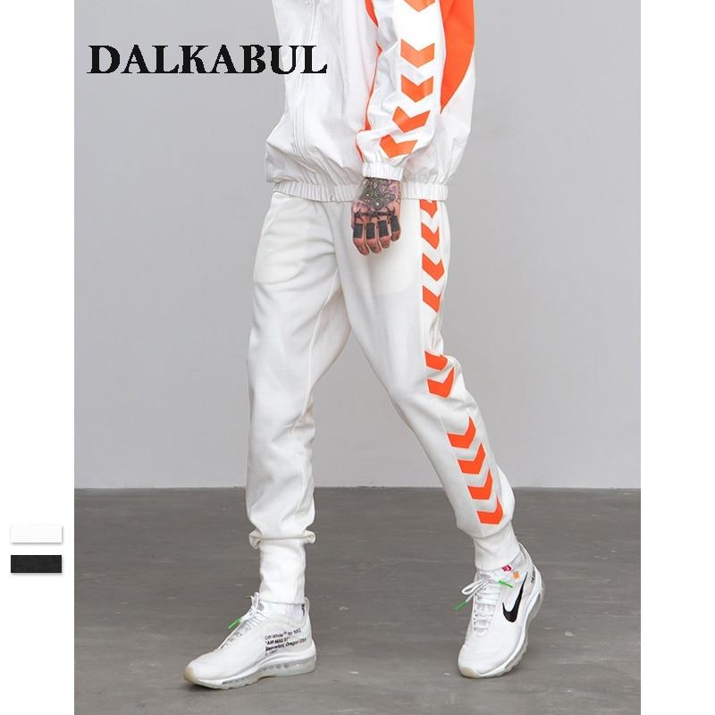 w Tráfico Impresa A Línea Pista Lateral Jogger Casual Otoño Pantalones Carril Streetwear Sweatpants A white Black 2018 Rayas qXwEBAC