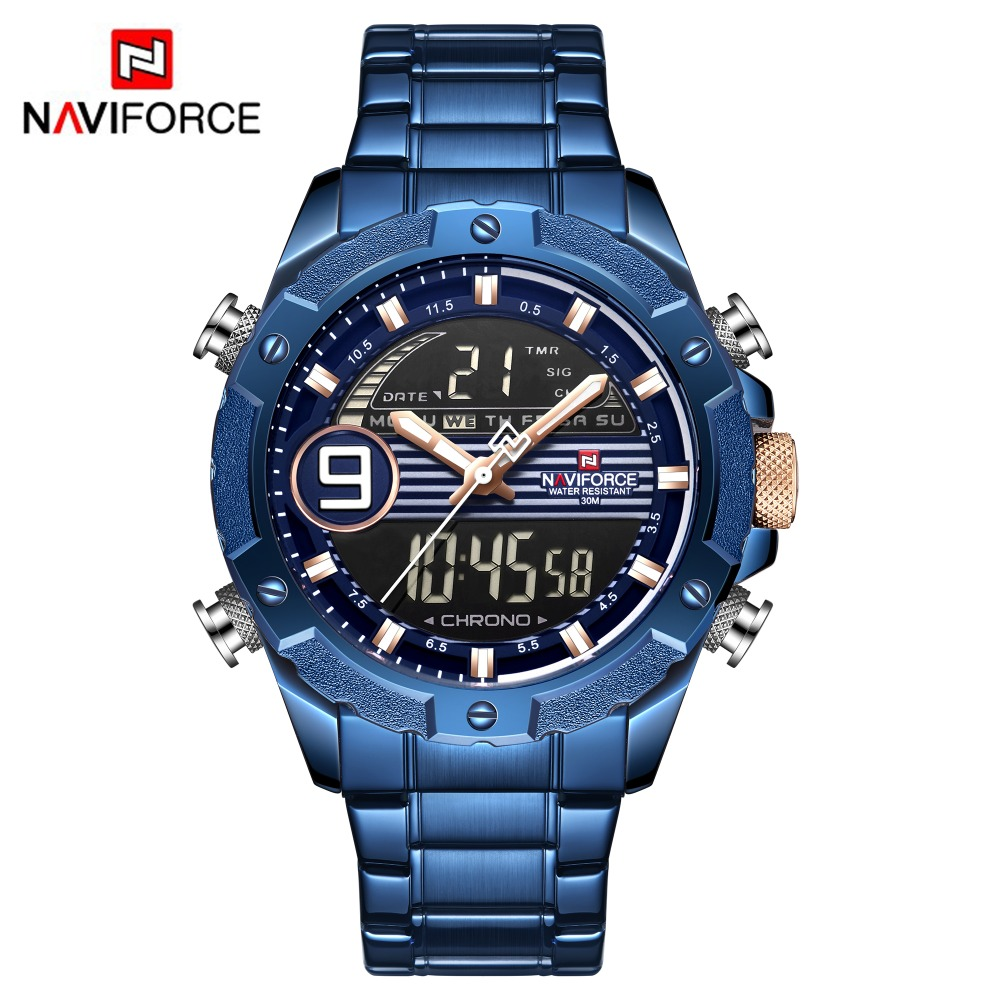 2019 Men Watch NAVIFORCE Casual Sports Digital Chronograph Military Dual Display Stainless Steel Quartz Waterproof Wristwatches