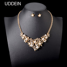 UDDEIN Nigerian Wedding Bridal Jewelry Sets Fashion Flower Simulated Pearl Necklace/Earring Set Statement Choker Necklace collar(China)