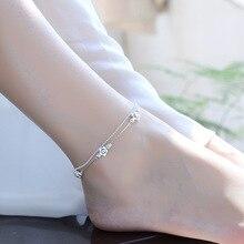 TJP New Fashion 925 Silver Women Bracelets Jewelry Cute Flower Girl Anklets  For Bride Princess Wedding Accessories Bijou