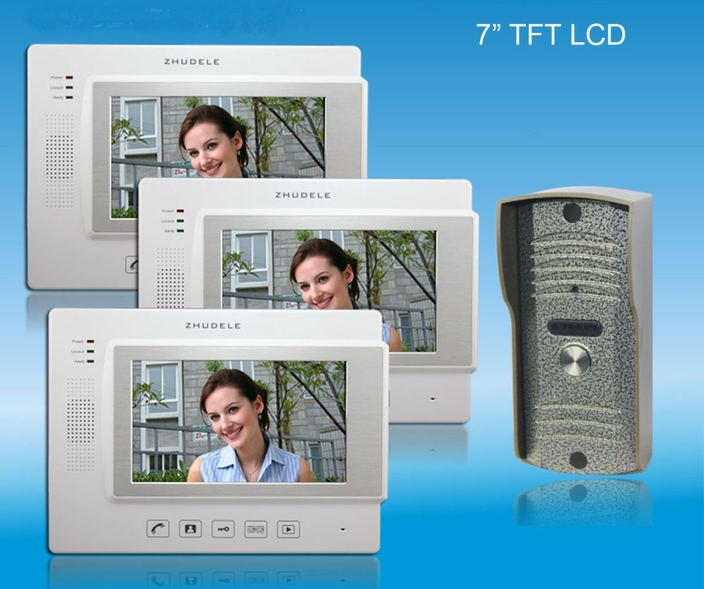 ZHUDELE Home security intercom systeom 7 luxury color video door phone with 4 GB SD Card free HD IR Camera in stock (1 to 3)