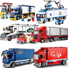 City Town Bus Station Service Garage School Cargo Transport Truck Car Vehicle Legoes Building Blocks Set KidsToy