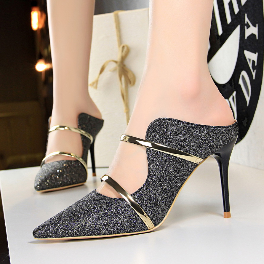 Women Pumps Sexy Women High Heel Slippers 2018 New Sequined Cloth Shallow Ladies High heeled Sandals Fashion Wedding Party Shoes in High Heels from Shoes