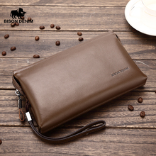 BISON DENIM Long Wallets For Men Genuine Leather Luxury Brand Men Clutch Wallet Male Purse Big Capacity Cowskin Wallet N2257