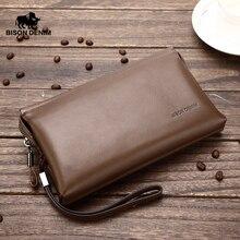 Bison denim carteiras longas para homens de couro genuíno marca luxo embreagem carteira masculina bolsa grande capacidade cowskin carteira n2257