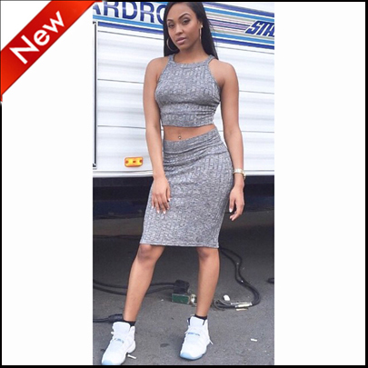 87bc646f66bf 2016 fashion set women two piece outfits crop top and skirt set sleeveless  gray sexy ensemble