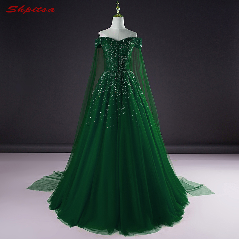 Emerald Green Long Evening Dresses Party Plus Size Beaded Off Shoulder Beautiful Women Prom Formal Evening Gowns Dresses