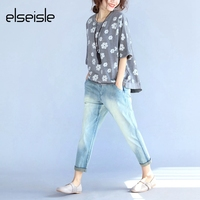Elseisle Women Floral T Shirt Harajuku Boho Floral Print Top Tees Korean Style Khaki Gray Korea