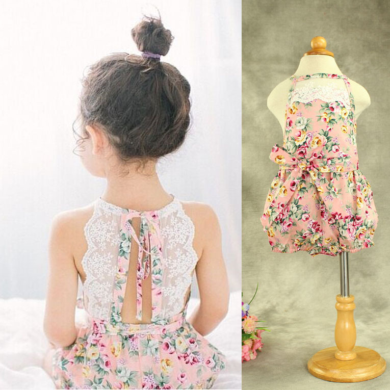 68048ff598b9 Pink Rose baby girls lace crocheted halter strap cotton floral printed romper  Birthday Gift