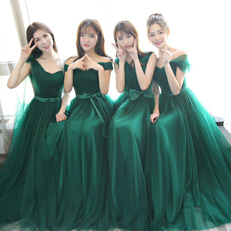 Beauty-Emily Lace Bridesmaid Dresses 2019 Long for Women Vestidos Para Festa Sleeveless Lace up Wedding Party Girl Prom Dress