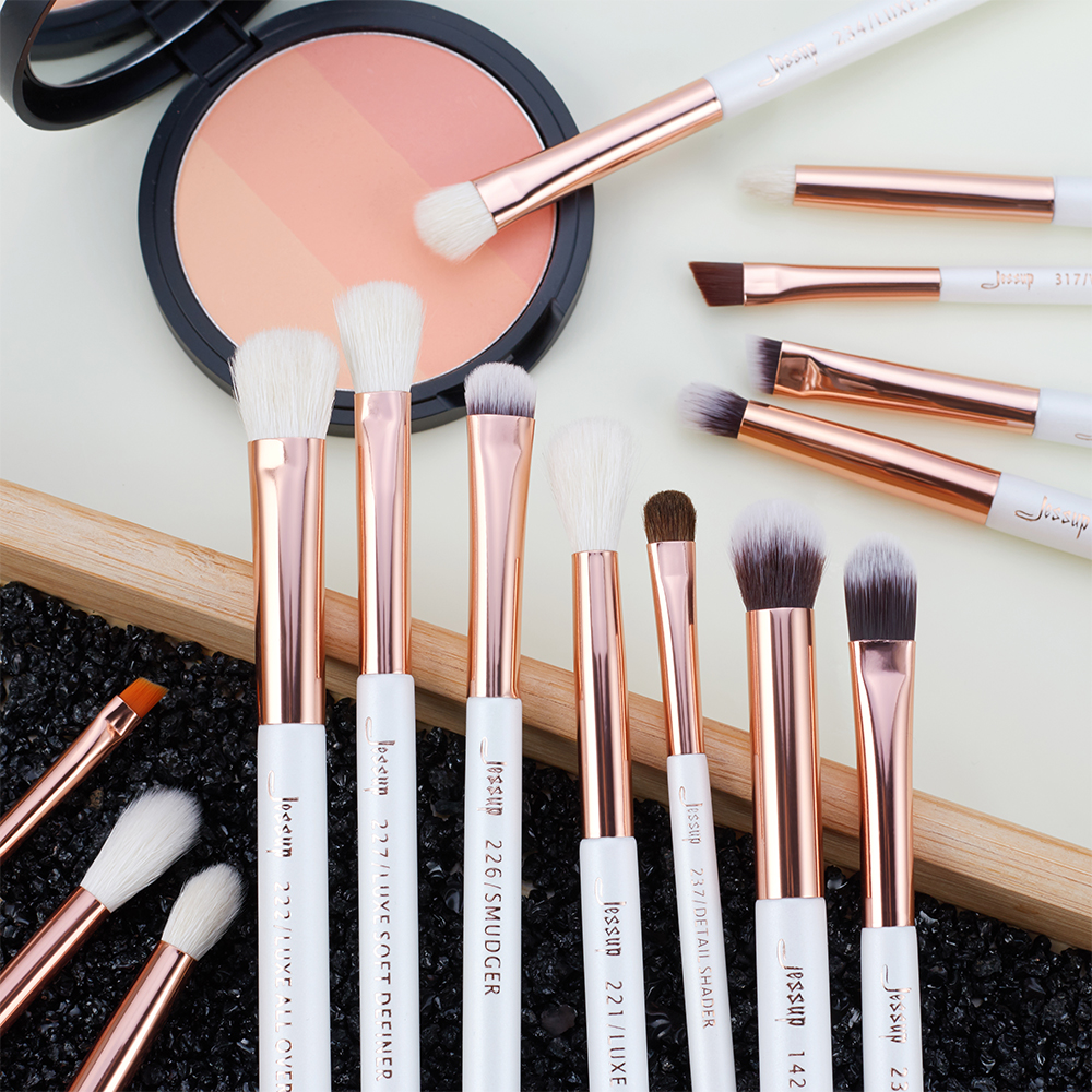 Image 5 - Jessup Pearl White/Rose Gold Professional Makeup Brushes Set Make up Brush Tools kit Eye Liner Shader natural synthetic hair-in Eye Shadow Applicator from Beauty & Health