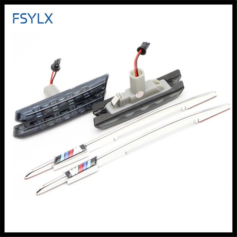FSYLX E46 LED side light bulb side LED light for BMW E46 1998-2001 Car LED Side Marker Lamp for BMW E46 smoked /// M logo цена