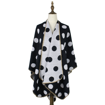 poncho feminino inverno wraps and capes women polka dots cashmere wool scarf shawls 450g open reversible wrap shawls tippet by health 450g