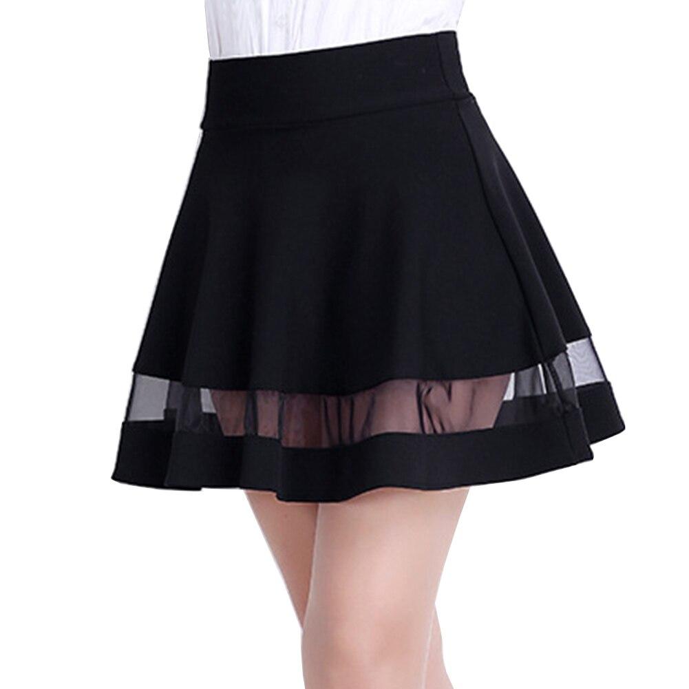 926eb5d30 2018 Primavera Verano Mujeres Sexy Falda Moda Coreana Malla de Color Sólido  Empalme cintura Alta Falda Plisada Negro Mini