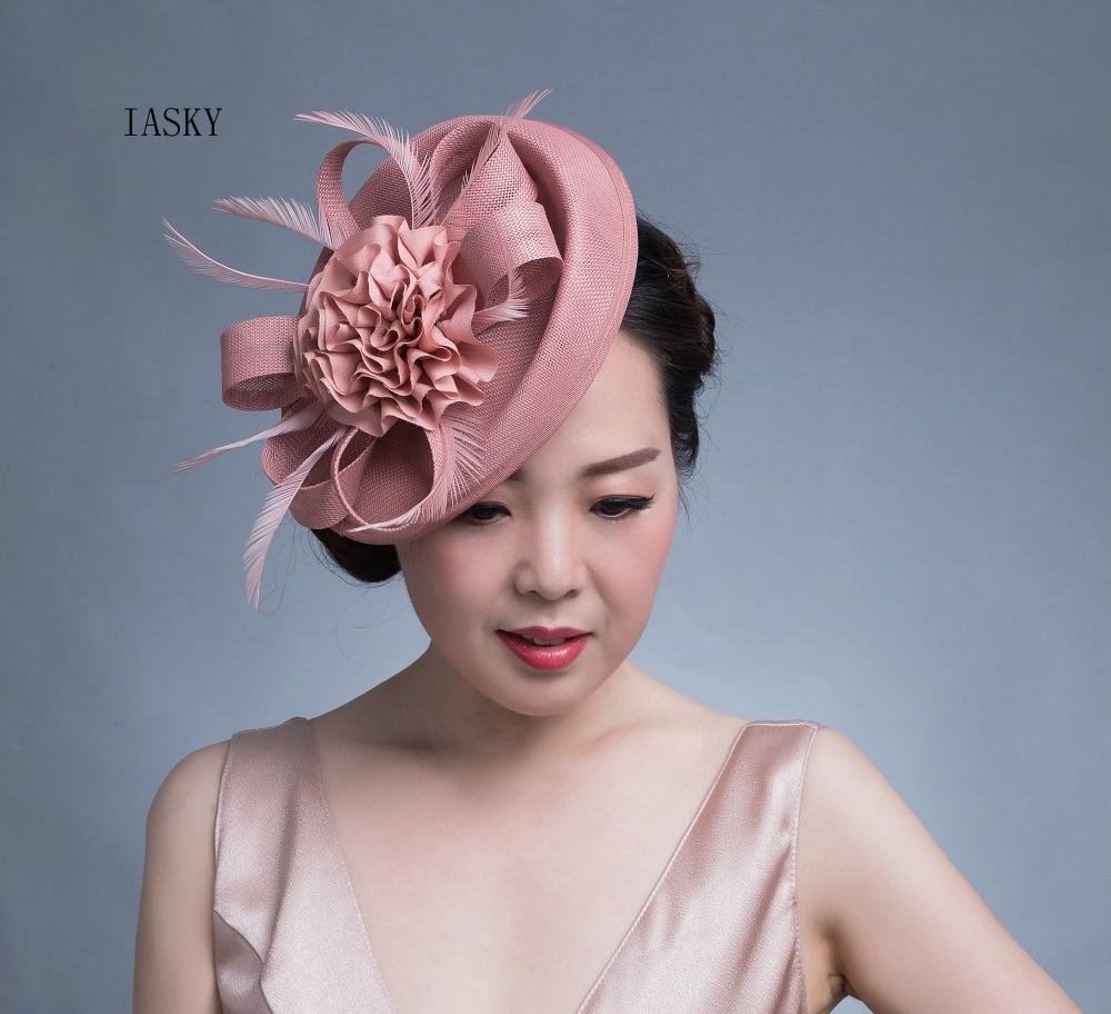 New Luxury Women Fascinator Headdress BIg Flower Feather Bride   Headwear   Hair Clip Fashion Race Dinner Party Derby Fascinator Hat