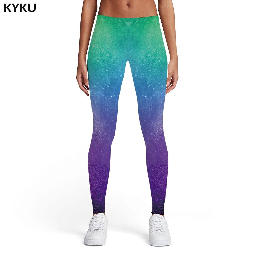 KYKU Brand Psychedelic Leggings Women Galaxy Sport Graffiti Leggins Harajuku Printed Pants Gothic Trousers Womens Leggings Pants