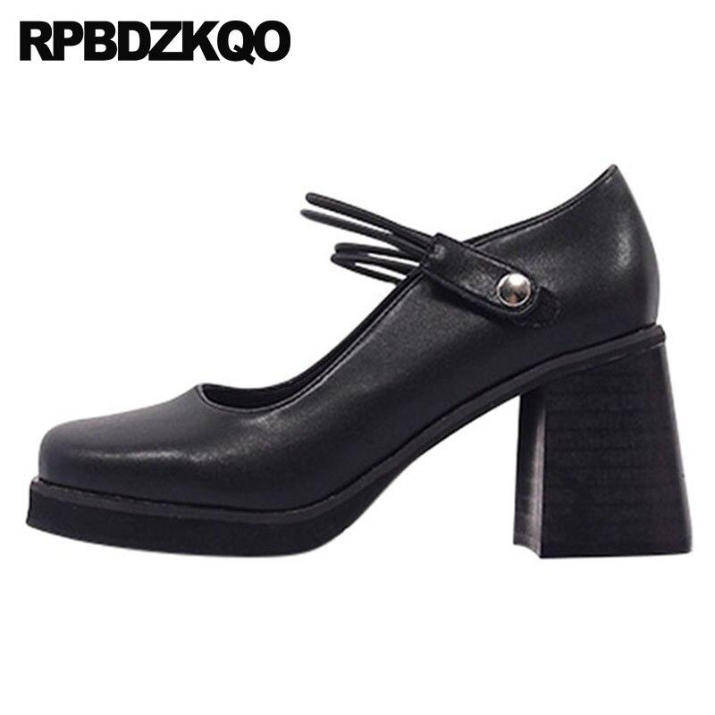 Taille 4 34 talons hauts Vintage bout carré coréen en cuir verni épais luxe femmes chaussures pompes noir 3 pouces bride à la cheville Mary Jane