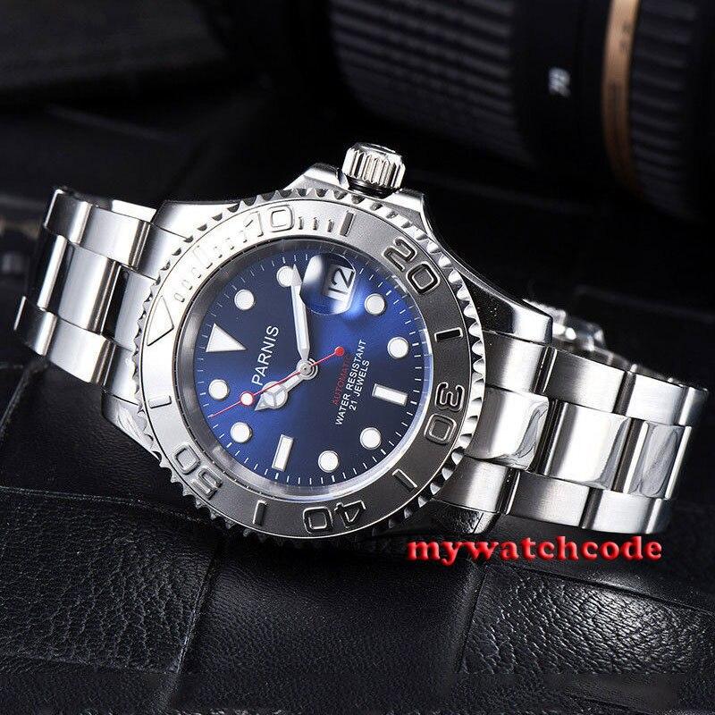 41mm Parnis blue dial Ceramic bezel 21 jewels miyota 8215 automatic mens watch цена и фото
