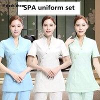 Health Club Work Clothing Teahouse Waitress Clothes Beauty Salon SPA Uniform 2piece Set women nurse scrubs Uniforms Female New