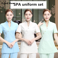 Health Club Work Clothing Teahouse Waitress Clothes Beauty Salon SPA Uniform 2piece Set women nurse scrubs Uniforms Female New