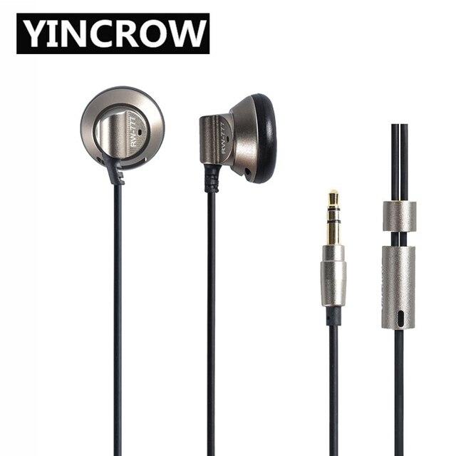 2019 오리지널 yincrow RW 777 이어폰 이어폰 플랫 헤드 플러그 이어 플러그 이어 버드 메탈 이어폰 헤드셋 무료 배송