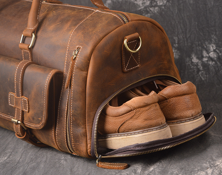 7b4866fbf5db Crazy Horse Genuine Leather Travel Bag Men Vintage Travel Duffel bag big  Cow Leather Carry On Luggage Weekend large shoulder Bag