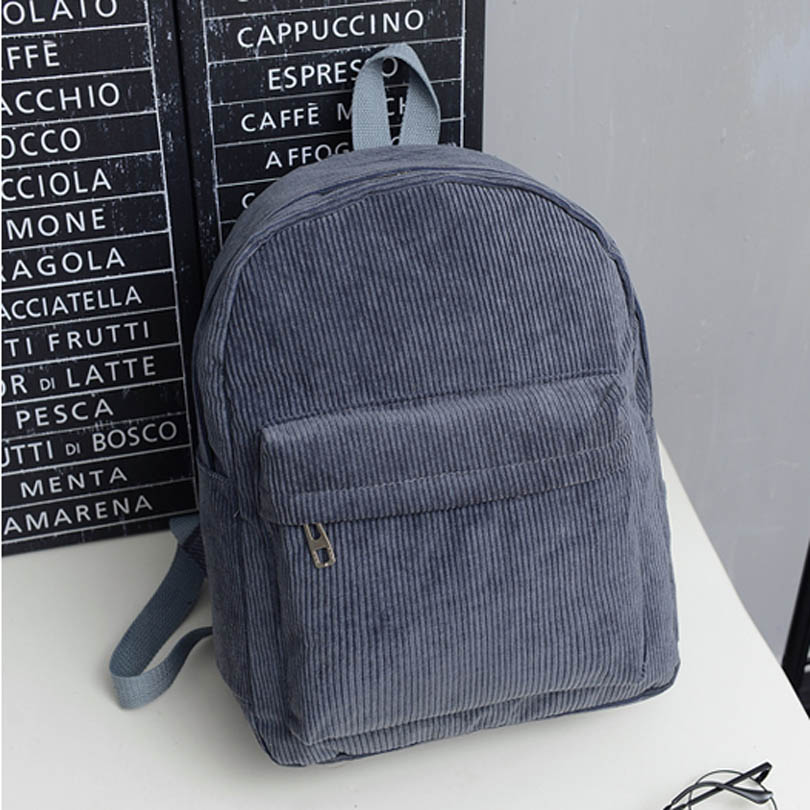 Casual Women Backpack Solid Corduroy Travel Day Packs School Bags For Teenager Girls High Students BookBag Rucksacks Mochila
