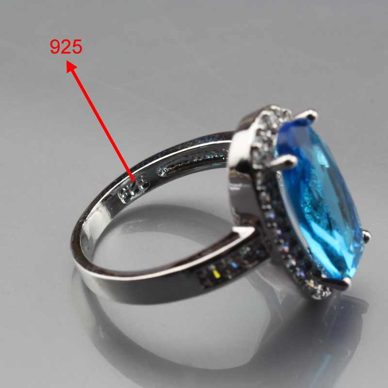 Manny Trinket Top Quality 925 Silver Sea Blue Zircon Oval Jewelry Sets For Women Ring Size 6/7/8/9/10 JS403