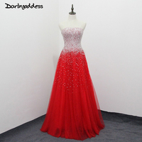 Real Photos Luxury Red Crystal Prom Dresses Sexy A Line Sweetheart Backless Tulle Women Long Party