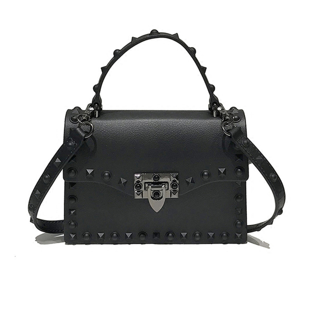 66e4172cd954 Brand Luxury Rivets Handbags women s Bag Matte Jelly Stud Bag Tote Bag  Designer Purse Bolsa Female