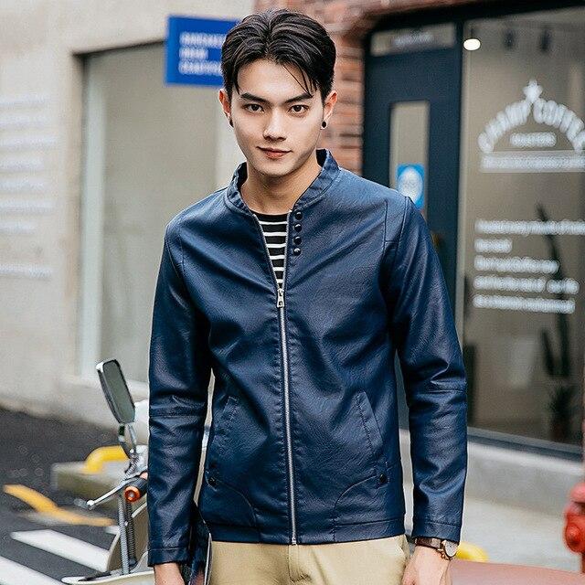 2016 Spring Autumn New Casual Stand Collar Casacas De Cuero Para Hombre Slim Fit Veste Moto Hommes