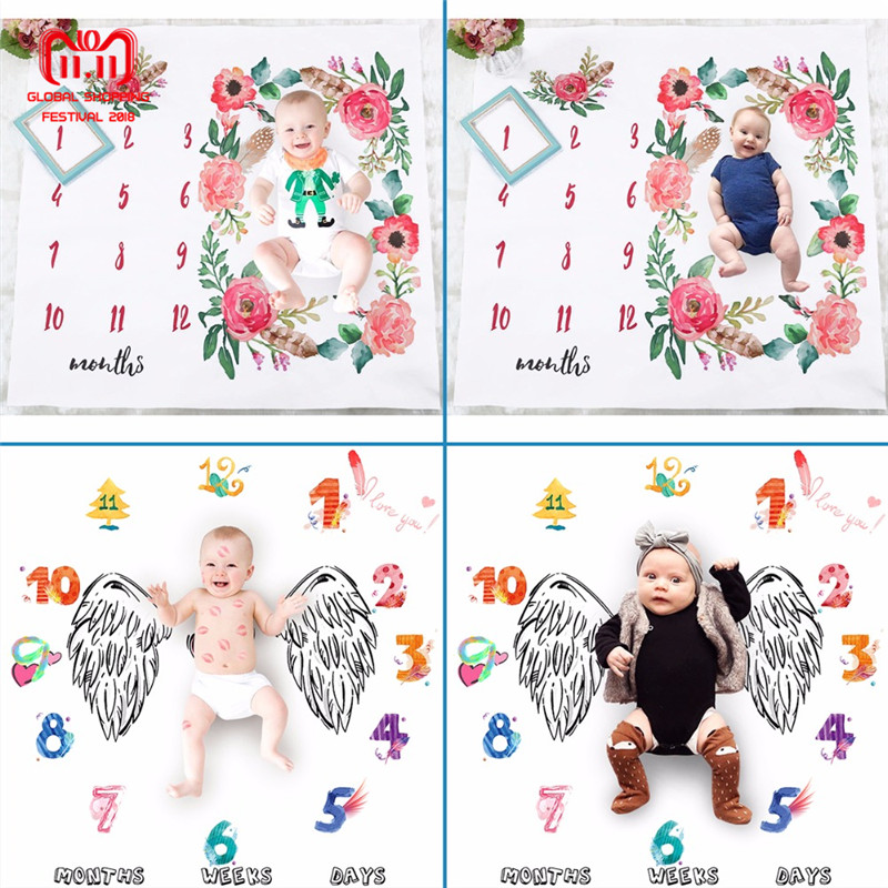 2018 Newborn Baby Milestone Blanket Photography Prop Background Monthly Growth Shooting Photo Bedding Wrap Swaddle 100x100cm