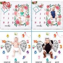 2018 новорожденных одеяло-Ростомер Опора задний план ежемесячный рост стрельба постельные принадлежности с фотопечатью обёрточная бумага пеленать 100×100 см
