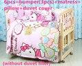 Promoción! 5 / 6 unids cuna Baby Bedding Set para bebé recién nacido ropa de cama 100% algodón, 100 * 60 / 110 * 65 cm