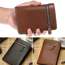 Men Short Faux Leather Casual Zipper Wallet Bifold Card Money Clutch Multi-slot BVZB