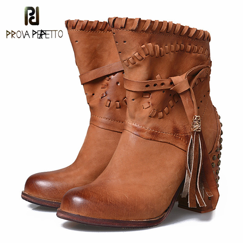 Prova Perfetto British Style Sweety Round Toe Genuine Leather Strap Fringe Boots Grace Sewing Design Chunky High Heel Boots prova perfetto british style elegant sheep genuine leather ankle buckle hollow out flower boots back strap chunky high heel boot