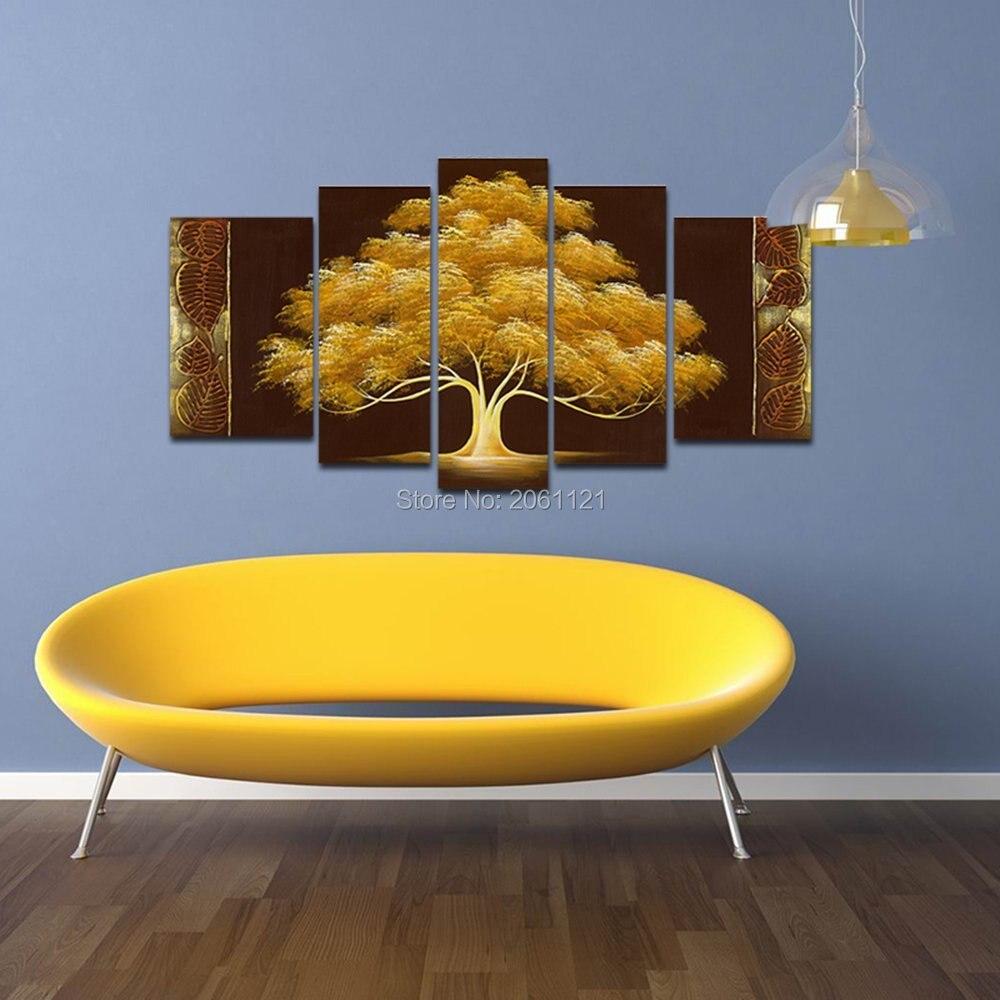Handgemalte herbst Baum Ölgemälde gelb braun Abstrakte Moderne Kunst ...