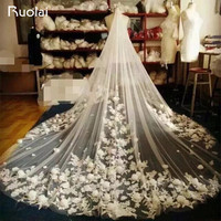 Free Shipping Luxury 3 Meters Long Wedding Veils Appliqued Flowers Long Bridal Veils White/Ivory Color Wedding Accessories FV22