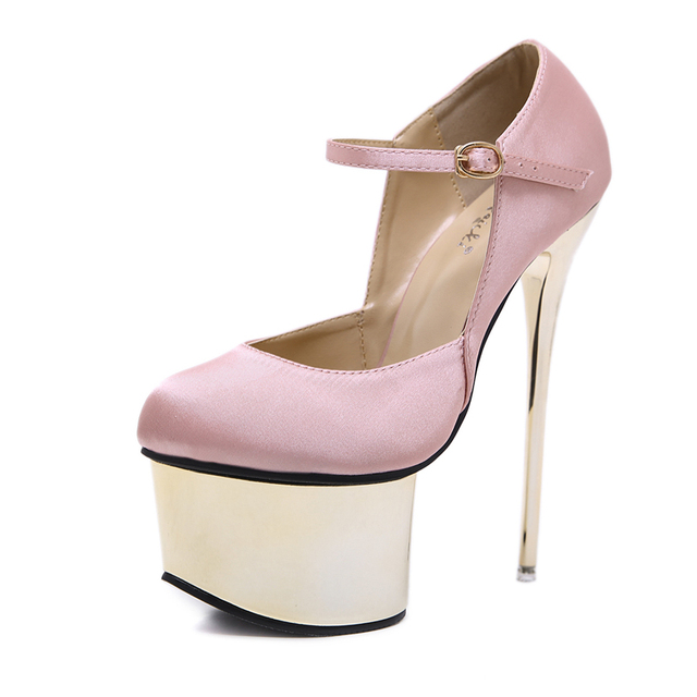 cef305f8524 Ladies Pumps Fall Women High Heel Shoes Fashion Gold Platform Pink Heels  16cm Heel Wedding Shoes Women Black High Heels